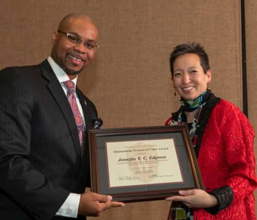 Vice Chancellor Patrick J. Sims with 2019 Honoree Jennifer Y.C. Edgoose
